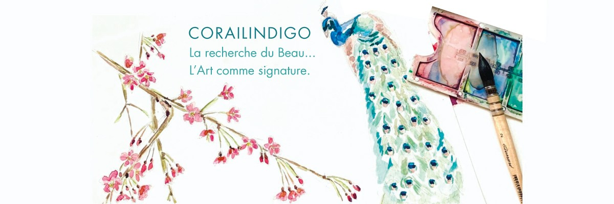 Aquarelle-corailindigo made in france art